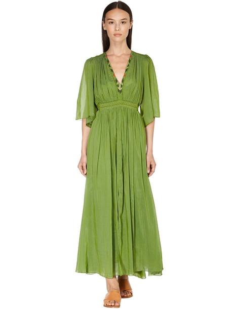 FORTE FORTE Muslin Midi Dress W/embroidery in green