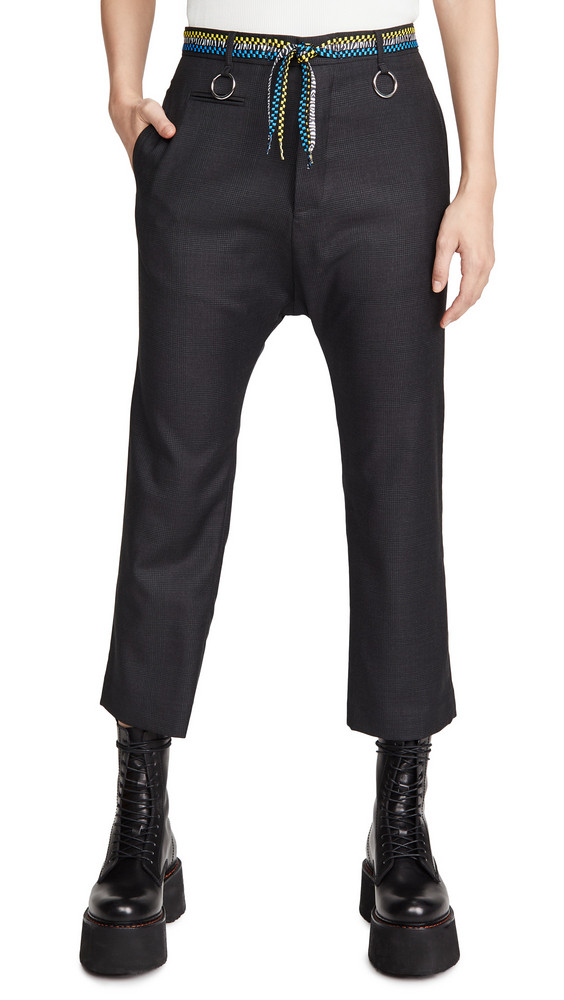 R13 Tailored Drop Trousers with Shoelace Belt in grey
