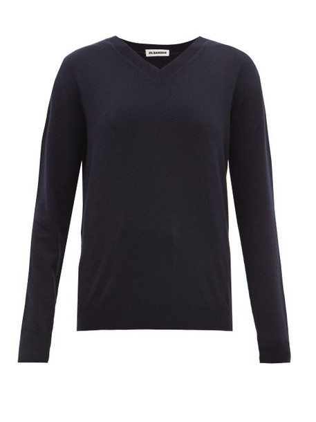 Jil Sander - V Neck Cashmere Sweater - Womens - Navy
