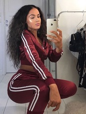 top,matching set,burgundy,red,set,tracksuit