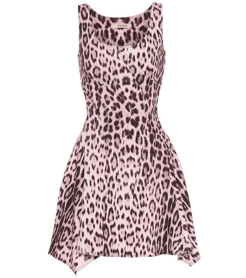 Roberto Cavalli Leopard-print denim minidress in pink