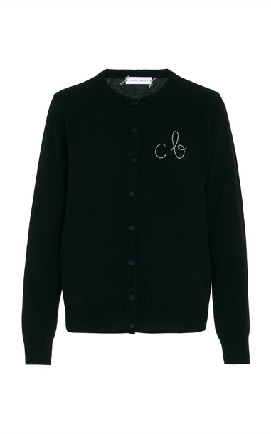 Lingua Franca Monogrammed Cashmere Cardigan With Mauve Thread Size: M in black