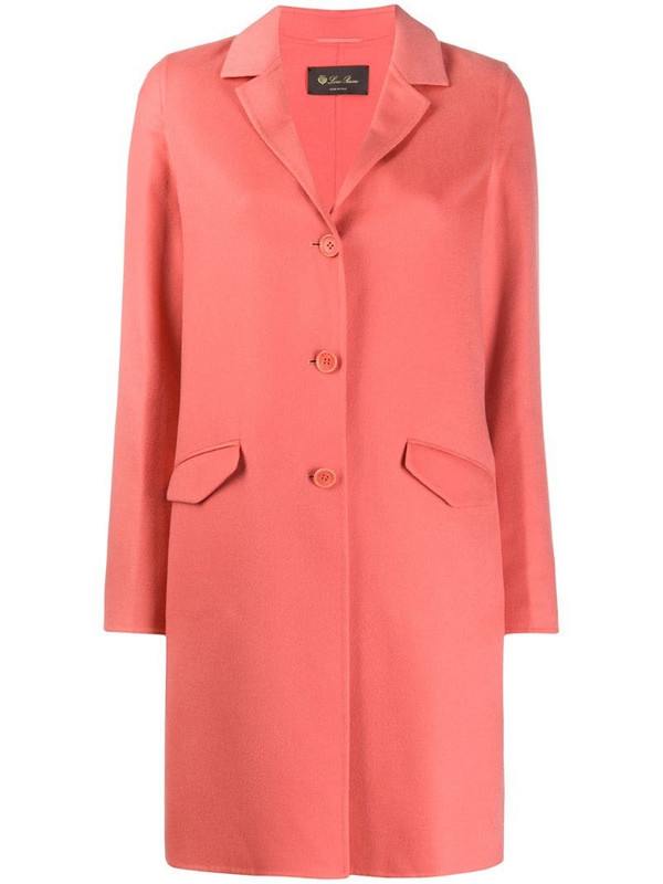 Loro Piana single breasted mid-length coat in pink