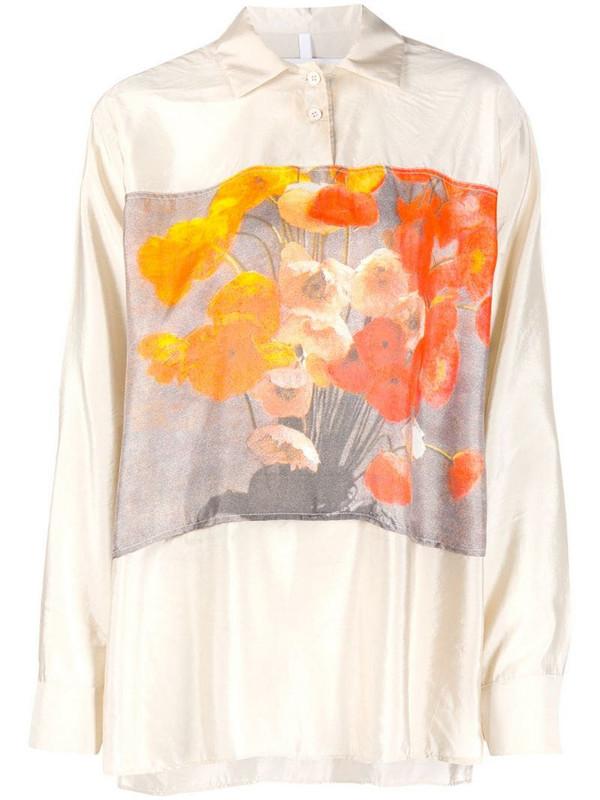 Soulland Arlene oversized floral print shirt in neutrals