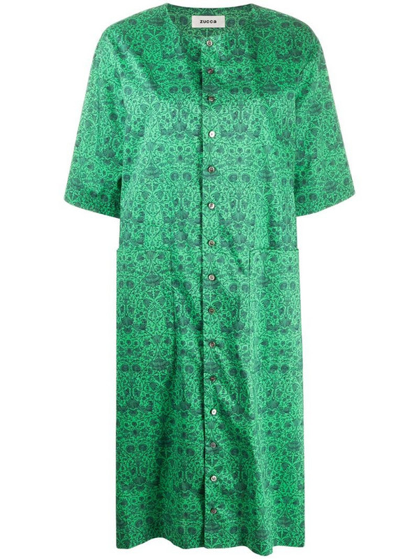Zucca floral-print button-front shift dress in green