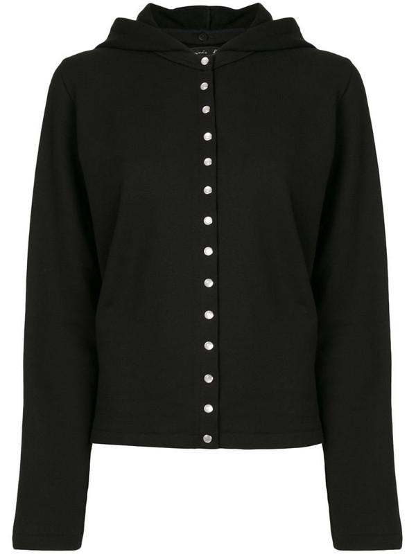 agnès b. Swansdown removable hoodie cardigan in black