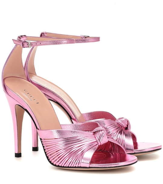 Gucci Crawford leather sandals in pink
