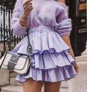 skirt,purple,mini skirt,ruffle