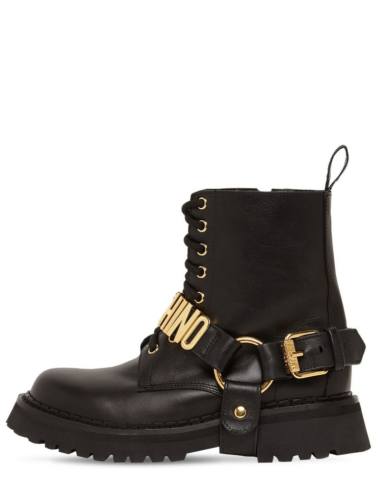 MOSCHINO 50mm Leather Combat Boots in black