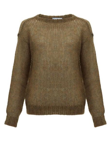 Prada - Dropped Shoulder Mohair Blend Sweater - Womens - Dark Green