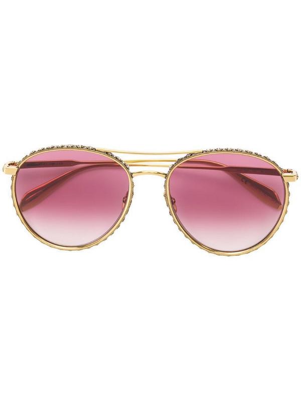 Alexander McQueen Eyewear embellished sunglasses in gold