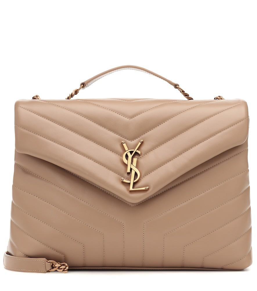 Saint Laurent Loulou Medium leather shoulder bag in beige