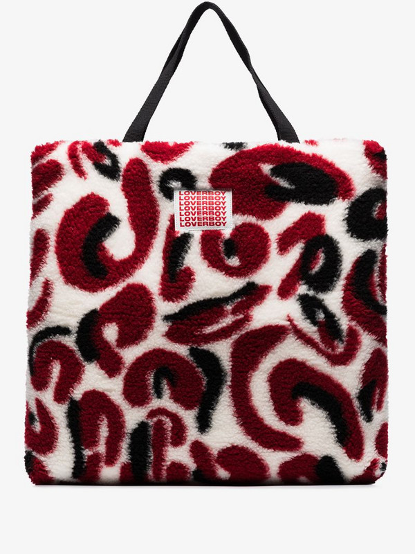Charles Jeffrey Loverboy x Browns 50 patterned faux-fur tote bag in red