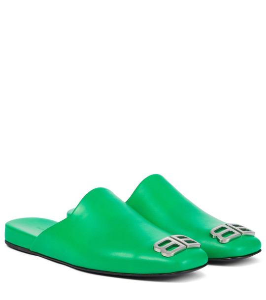 Balenciaga Cosy BB leather slippers in green