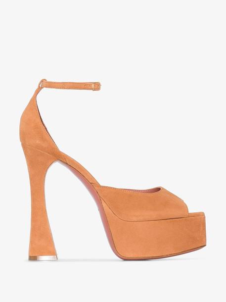 Amina Muaddi Tan Bianca 140 Platform Suede Sandals