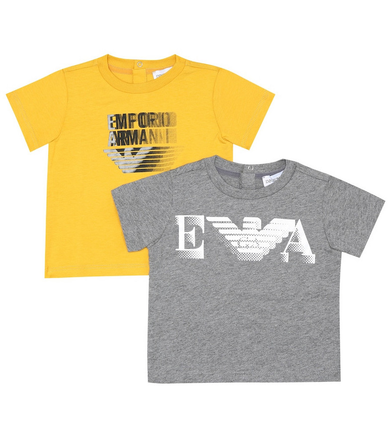 Emporio Armani Kids Baby set of 2 cotton T-shirts in yellow