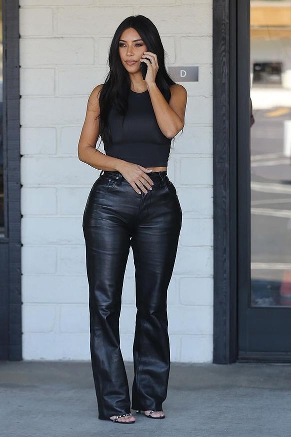 pants top leather leather pants kim kardashian kardashians crop tops tank top