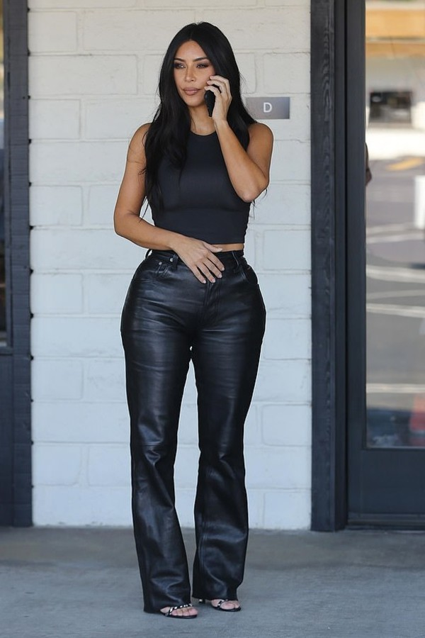 pants top leather leather pants kim kardashian kardashians crop tops tank top