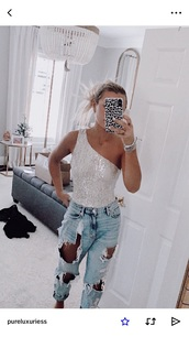 top,sparkle,silver,bodysuit,one shoulder,sequin top,sequins
