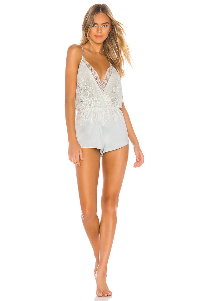 Flora Nikrooz Genevive Romper With Lace in blue