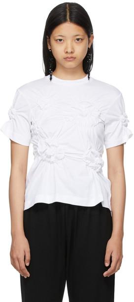 Simone Rocha White Ruched Flower T-Shirt