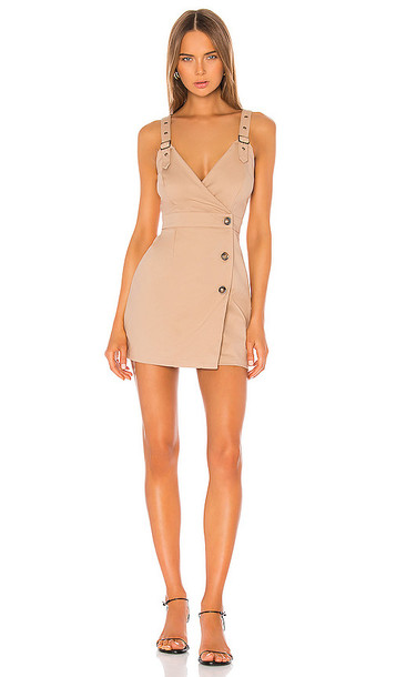 superdown Ayah Trench Mini Dress in Tan