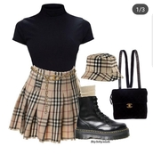 skirt,beige,pattern,plaid skirt,looks like burberry,burberry,burberry style,burberry skirt