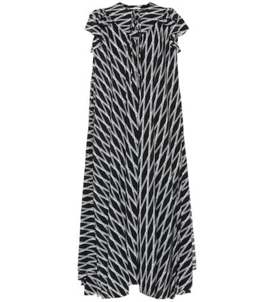Balenciaga Printed silk midi dress in black