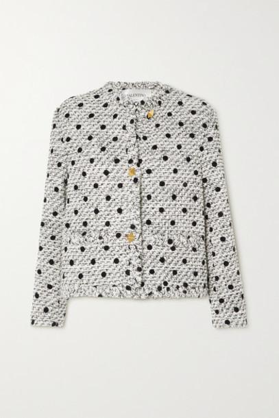 Valentino - Polka-dot Flocked Wool-blend Tweed Jacket - White