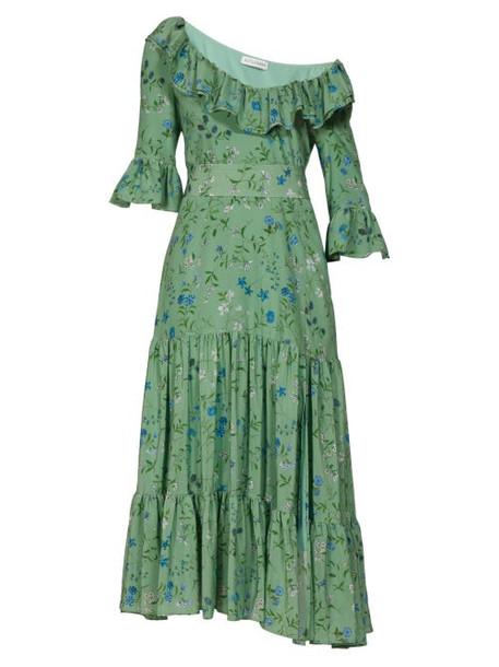 Altuzarra - Helden Floral Print Ruffled Dress - Womens - Green Print