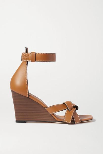 Loewe - Gate Topstitched Leather Wedge Sandals - Tan