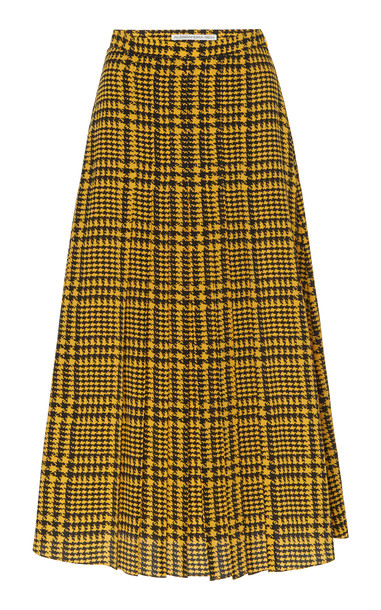 Alessandra Rich Pied De Poule Printed Silk Skirt Size: 36 in yellow