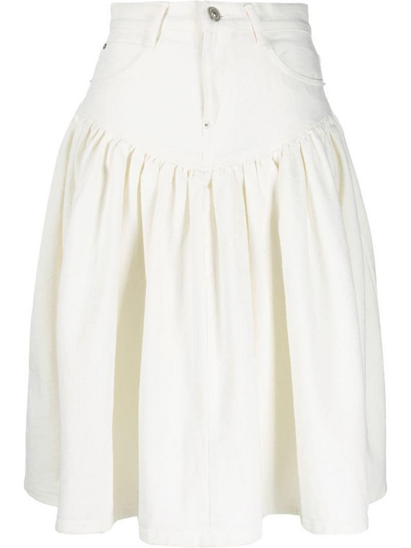 pushBUTTON flared midi skirt in white