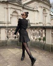 dress,black dress,mini dress,shirt dress,tights,black boots