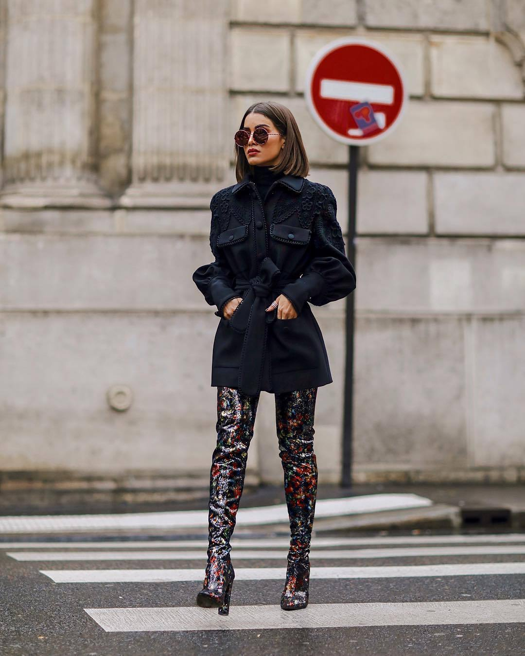 shoes over the knee boots sequins black jacket elie saab black turtleneck top