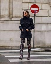 shoes,over the knee boots,sequins,black jacket,elie saab,black turtleneck top