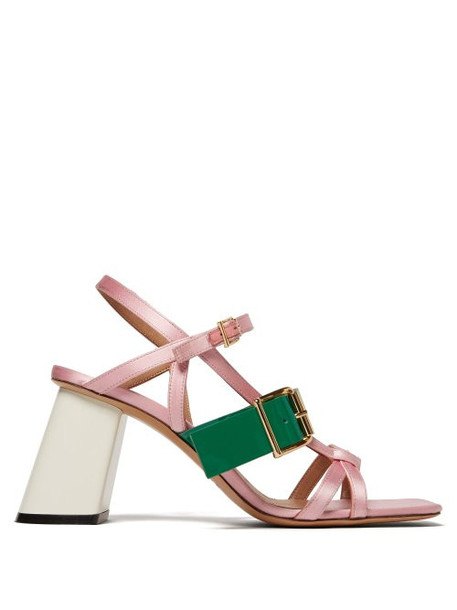 Marni - Satin And Leather Block Heel Sandals - Womens - Pink Multi