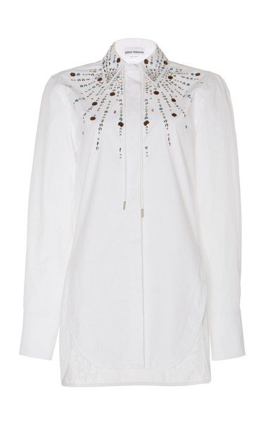 Paco Rabanne Embellished Cotton-Poplin Shirt in white