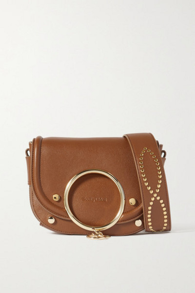 See By Chloé See By Chloé - Mara Embellished Leather Shoulder Bag - Tan