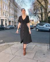 dress,midi dress,black dress,polka dots,ankle boots,brown boots