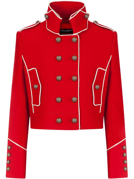 Dolce & Gabbana cropped military jacket in red