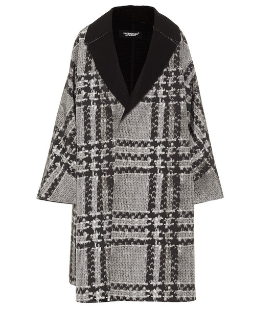 Undercover Checked coat in grey