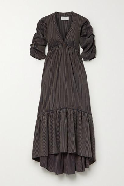 La Ligne - Gitane Ruched Striped Cotton-blend Dress - Midnight blue