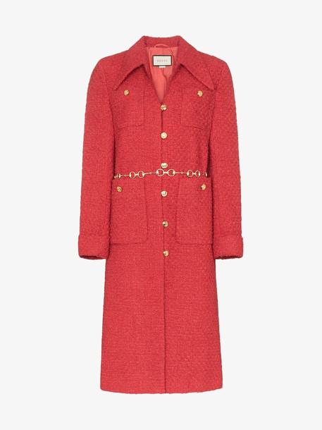 Gucci Tweed coat with horsebit belt in red