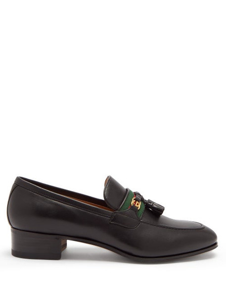 Gucci - GG And Web Stripe Tasselled Leather Loafers - Womens - Black