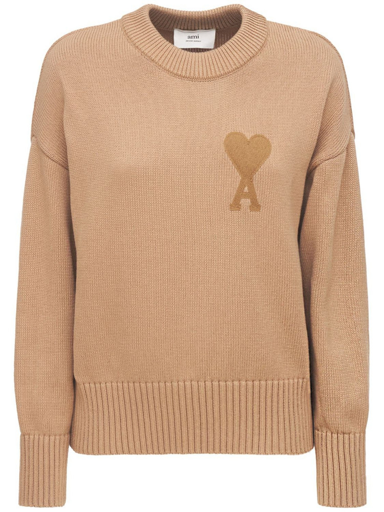 AMI ALEXANDRE MATTIUSSI Ami De Coeur Cotton & Wool Knit Sweater in beige