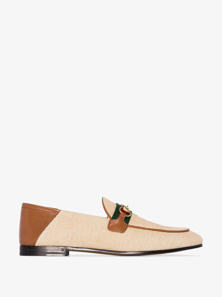 Gucci beige Brixton canvas loafers