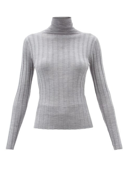 Allude - Roll-neck Ribbed-wool Sweater - Womens - Light Grey