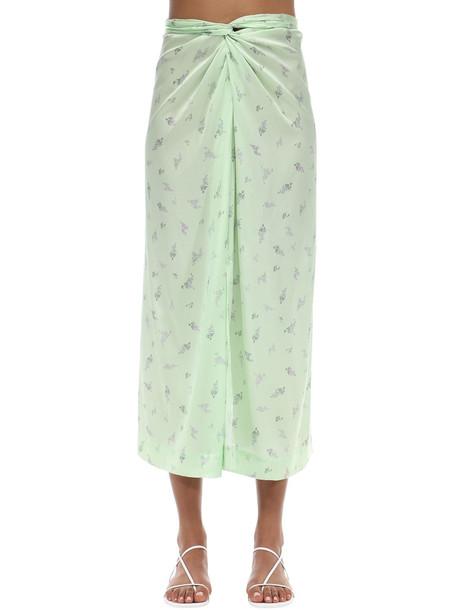 GANNI Stretch Silk Satin Midi Skirt in mint