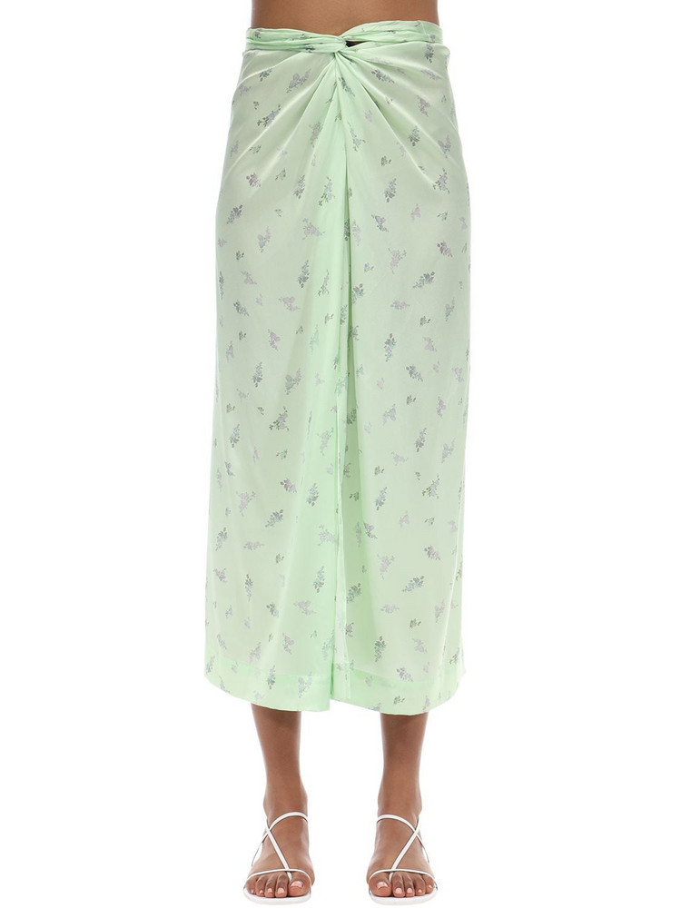 GANNI Stretch Silk Satin Midi Skirt in mint